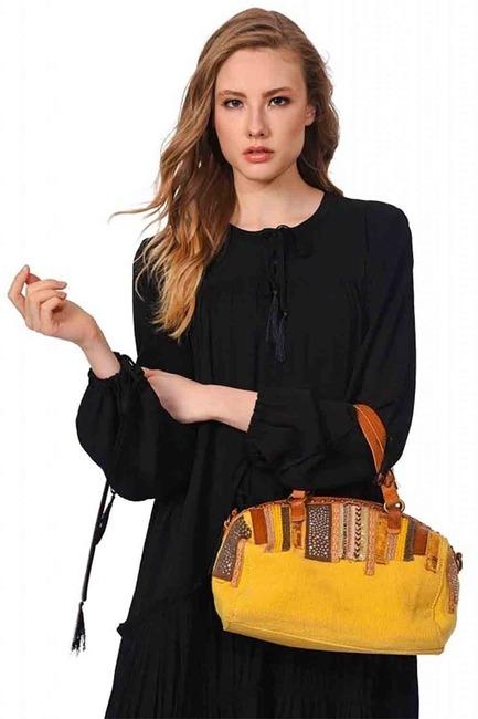 Mizalle - حقيبة يد من الكتان بالترتر (أَصْفَرُ)