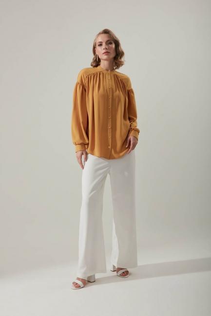 Mizalle - قميص بأكمام مطوي (أصفر داكن)