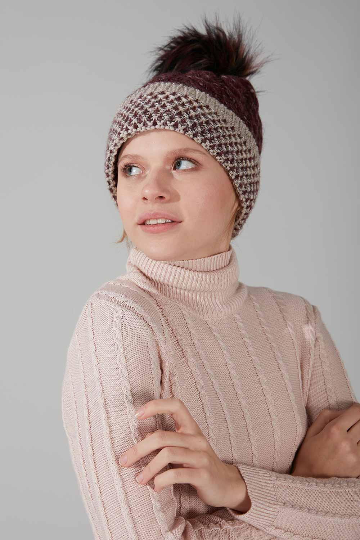 Mizalle - قبعة شتوية بكرات صوفية ( خمري)