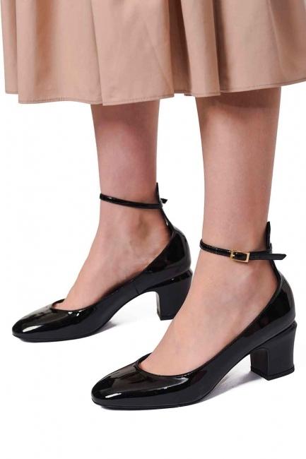 Mizalle - حذاء بكعب مع مشبك (أَسْوَدُ) (1)