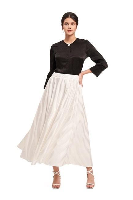Mizalle - تنورة واسعة من القماش الحريري ( أبيض )