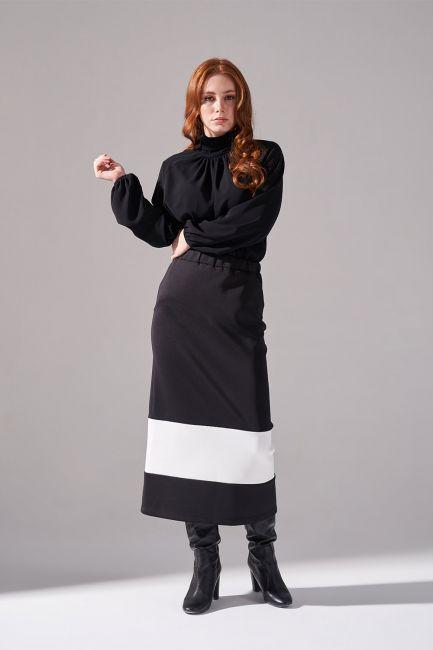 Mizalle - تنورة من قماش سكوبا ( أسود )