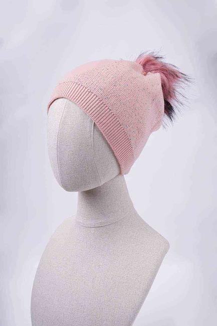 Mizalle - قبعة شتوية باحجار لامعة (وردي)