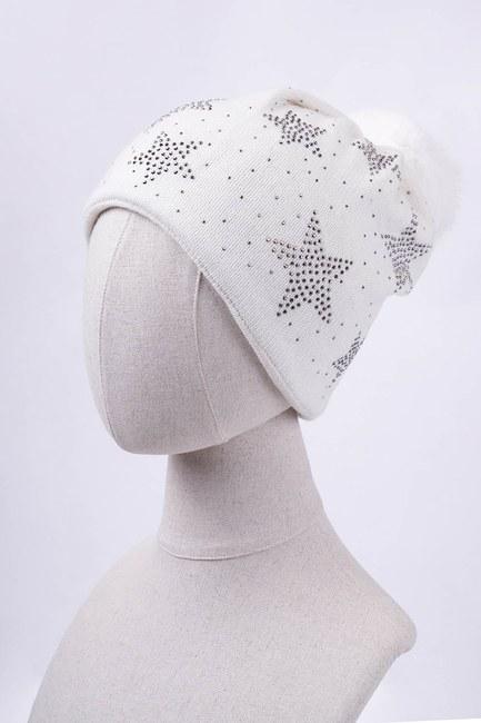 Mizalle - قبعة شتوية مزين بنجوم واحجار لامعة (عاجي)