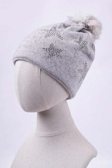 Mizalle - قبعة شتوية مزين بنجوم واحجار لامعة (رمادي)