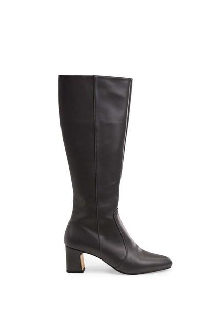 Mizalle - حذاء طويل بكعب سميك (رمادي) (1)
