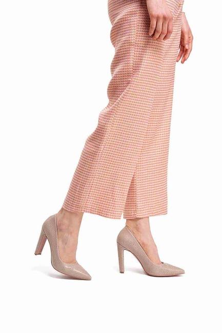 Mizalle - حذاء بكعب عالي سميك ( بيج )