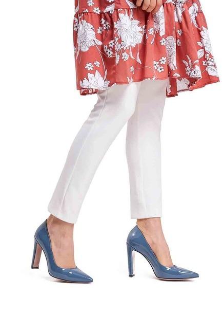 Mizalle - حذاء بكعب عالي سميك ( بترولي )