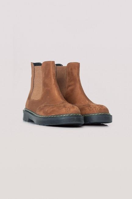 Mizalle - حذاء بوت شمواه بكعب سميك (جملي)