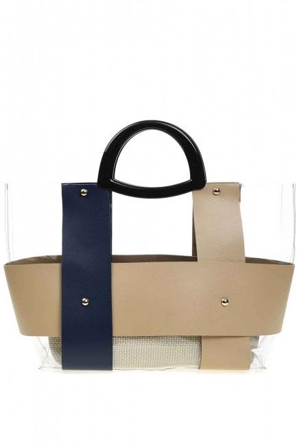 Mizalle - حقيبة يد شفافة مع مقبض بلاستيكي (أزرق داكن)