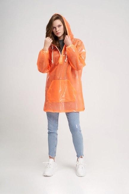 Mizalle - معطف واق من المطر شفاف (برتقالي)