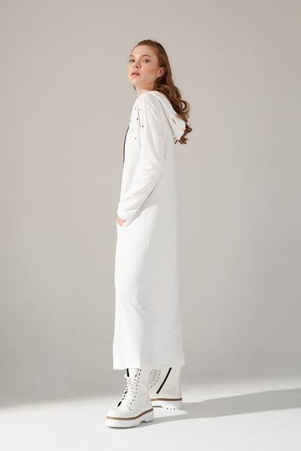 Mizalle Youth - Two Yarn Drop Dress (Ecru) (1)