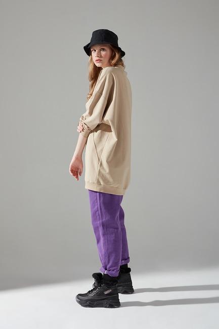 Mizalle Youth - Two Yarn Stitched Sweatshirt (Beige) (1)