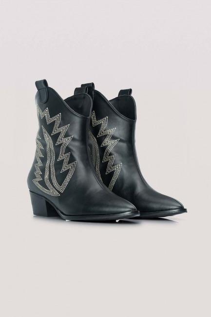 Mizalle - حذاء بوت حاكل جلد (أسود)