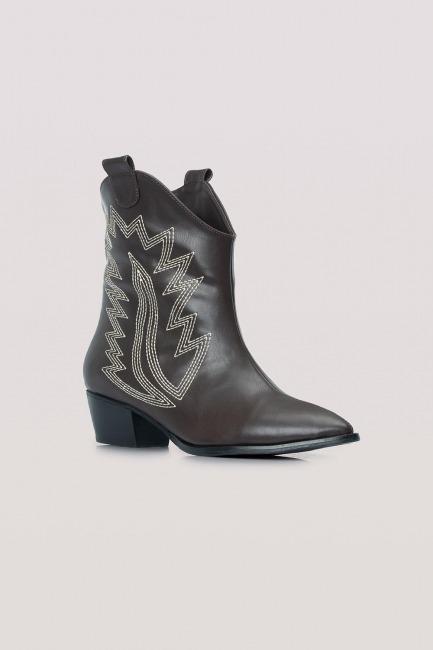Mizalle - حذاء بوت حاكل جلد (بني)