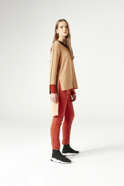 MIZALLE - Asymmetric Blouse (Brick Red) (1)
