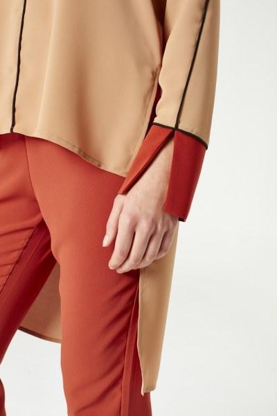 Asymmetric Blouse (Brick Red) - Thumbnail