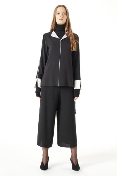 MIZALLE Asimetrik Bluz (Siyah)