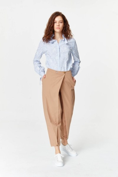 Asymmetric Detailed Trousers (Camel) - Thumbnail