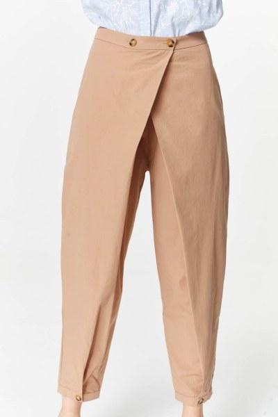 MIZALLE - Asimetrik Detaylı Pantolon (Camel) (1)