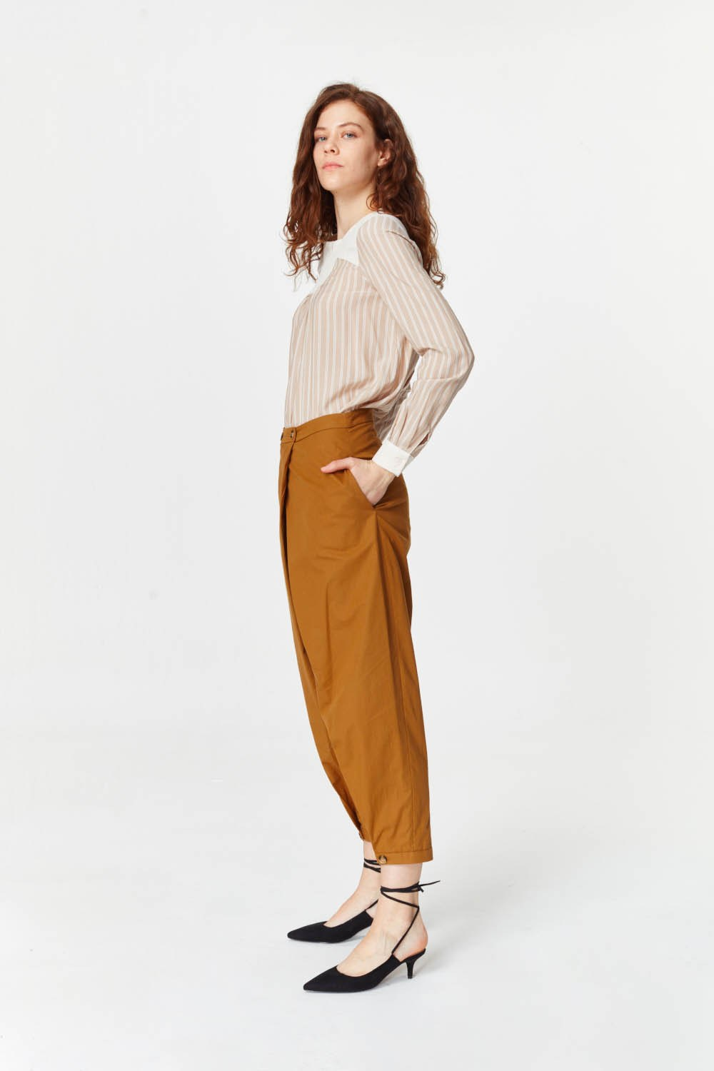 MIZALLE Asymmetric Detailed Trousers (Mustard) (1)