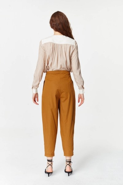 Asymmetric Detailed Trousers (Mustard) - Thumbnail