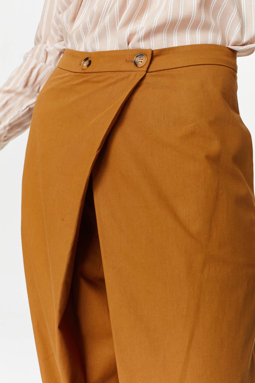 MIZALLE Asymmetric Detailed Trousers (Mustard) (1)