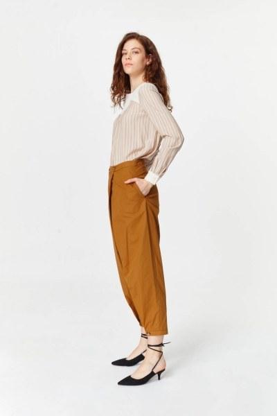 MIZALLE - Asimetrik Detaylı Pantolon (Hardal) (1)
