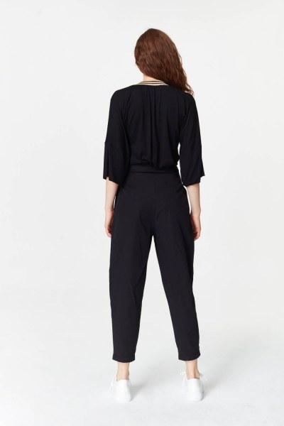 Asymmetric Detailed Trousers (Black) - Thumbnail