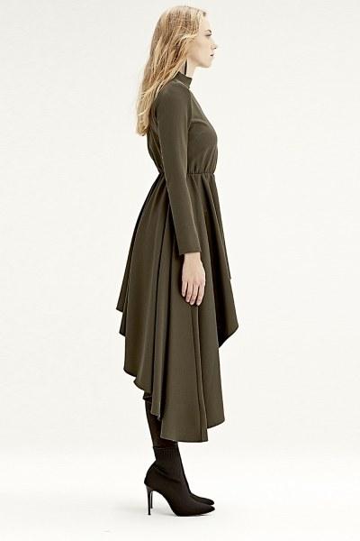 MIZALLE - فستان تونيك بخطوط غير متماثلة (كاكي) (1)