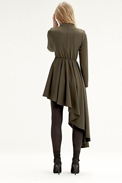 فستان تونيك بخطوط غير متماثلة (كاكي) - Thumbnail