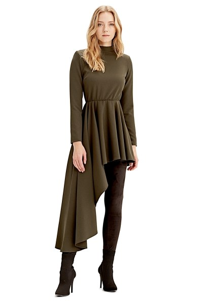 MIZALLE Asymmetric Dress Tunic (Khaki)