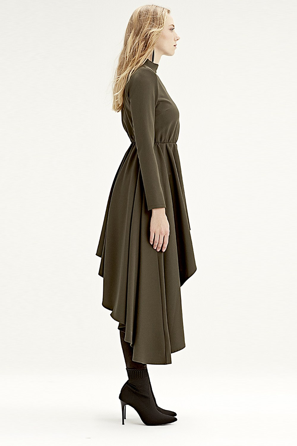 MIZALLE Asymmetric Dress Tunic (Khaki) (1)