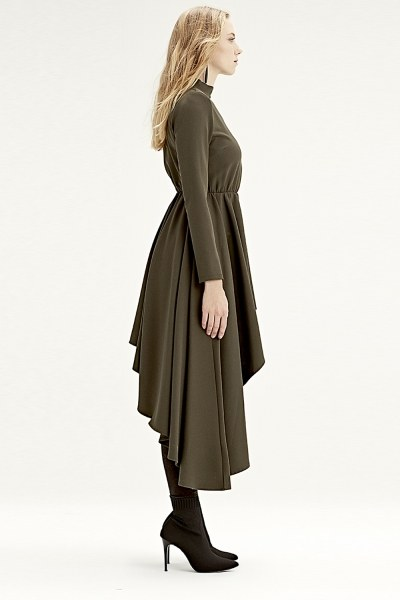 MIZALLE - Asymmetric Dress Tunic (Khaki) (1)
