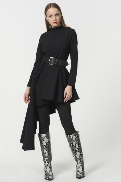 MIZALLE - Asimetrik Elbise Tunik (Siyah) (1)