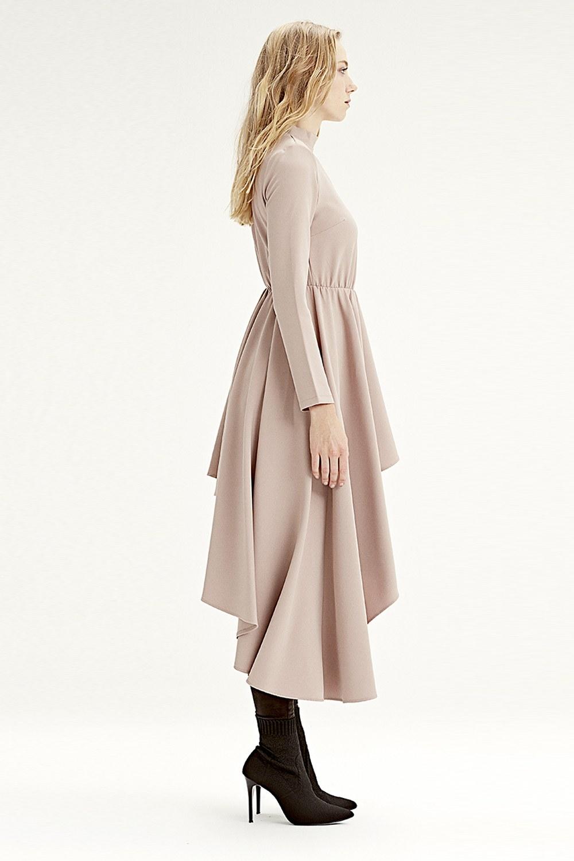 MIZALLE فستان تونيك بخطوط غير متماثلة(حجري) (1)