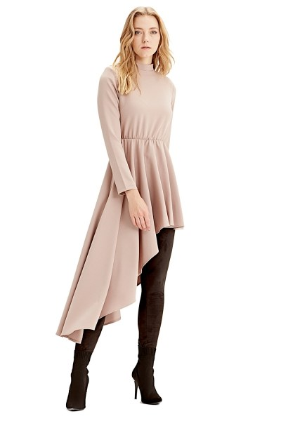 MIZALLE Asymmetric Dress Tunic (Stone)