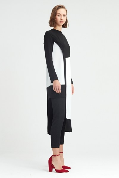 MIZALLE - Garni-Asymmetric Tunic (Black) (1)