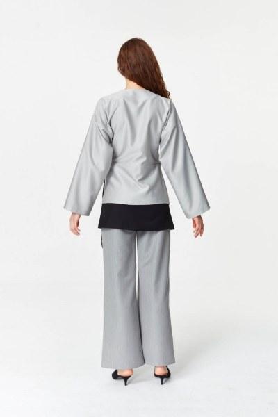 Asimetrik Kapamalı Ceket (Gri) - Thumbnail