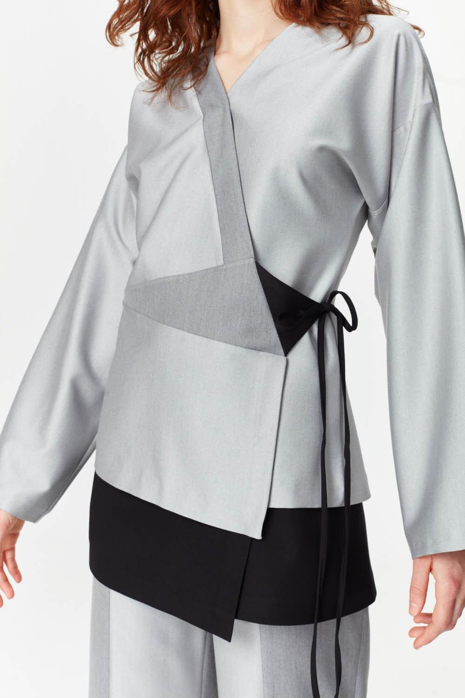 MIZALLE Asimetrik Kapamalı Ceket (Gri) (1)