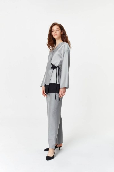 MIZALLE - Asymmetrical Detailed Jacket (Grey) (1)
