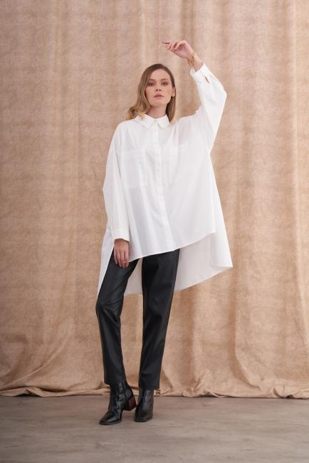 Mizalle - Asimetrik Kesimli Beyaz Oversize Gömlek