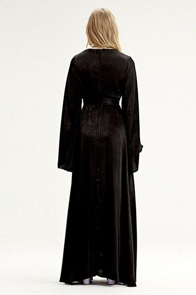 Asymmetrical Sleeve Dress (Black) - Thumbnail