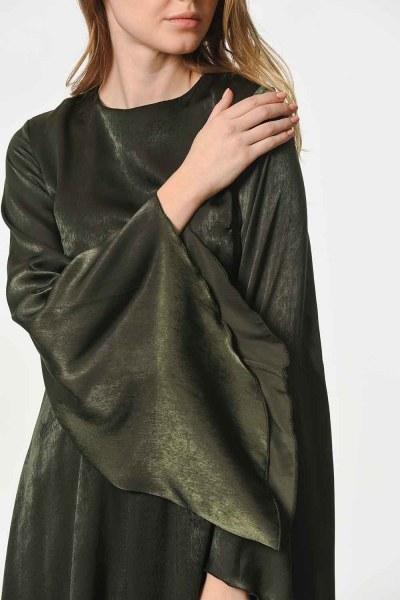 فستان بـأكمام غير متماثلة الشكل (كاكي) - Thumbnail