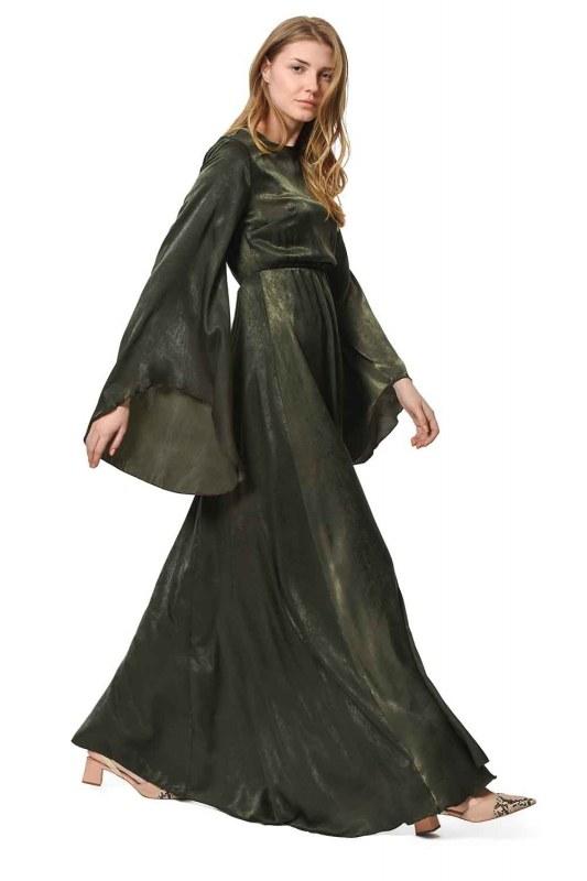 Asymmetric Sleeve Dress (Khaki)