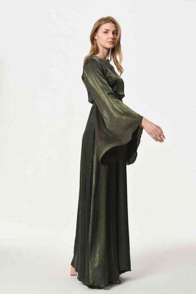 Asymmetric Sleeve Dress (Khaki) - Thumbnail
