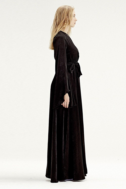 MIZALLE فستان بإكمام غير متماثلة الشكل (أسود) (1)