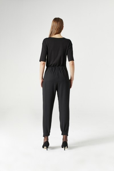 Asimetrik Paçalı Pantolon (Siyah) - Thumbnail