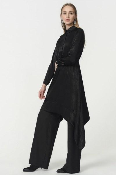 Asymmetric Tunic Shirt (Black) - Thumbnail