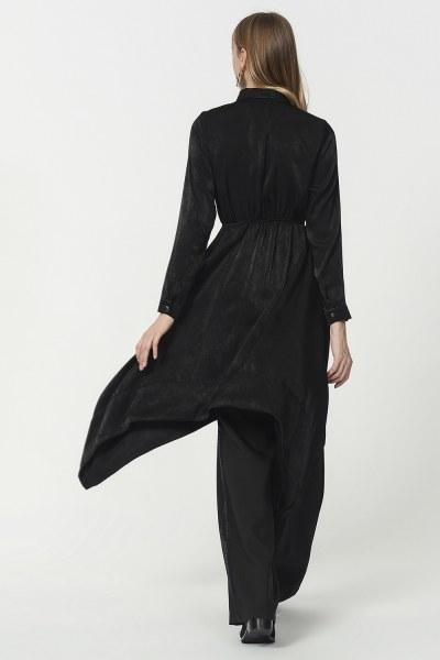 Asymmetric Tunic Shirt (Black) - Thumbnail